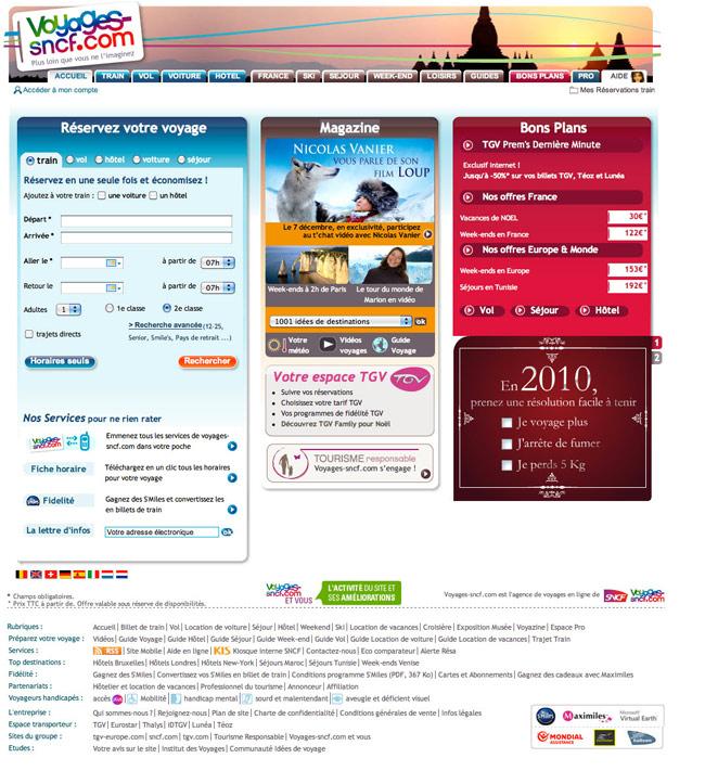 page d'accueil de voyages-sncf.com